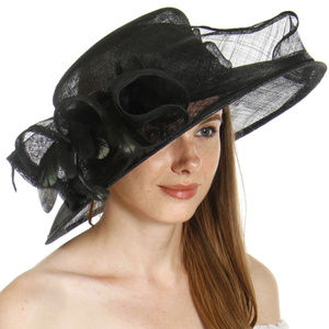 Sinamay black feather dress hat